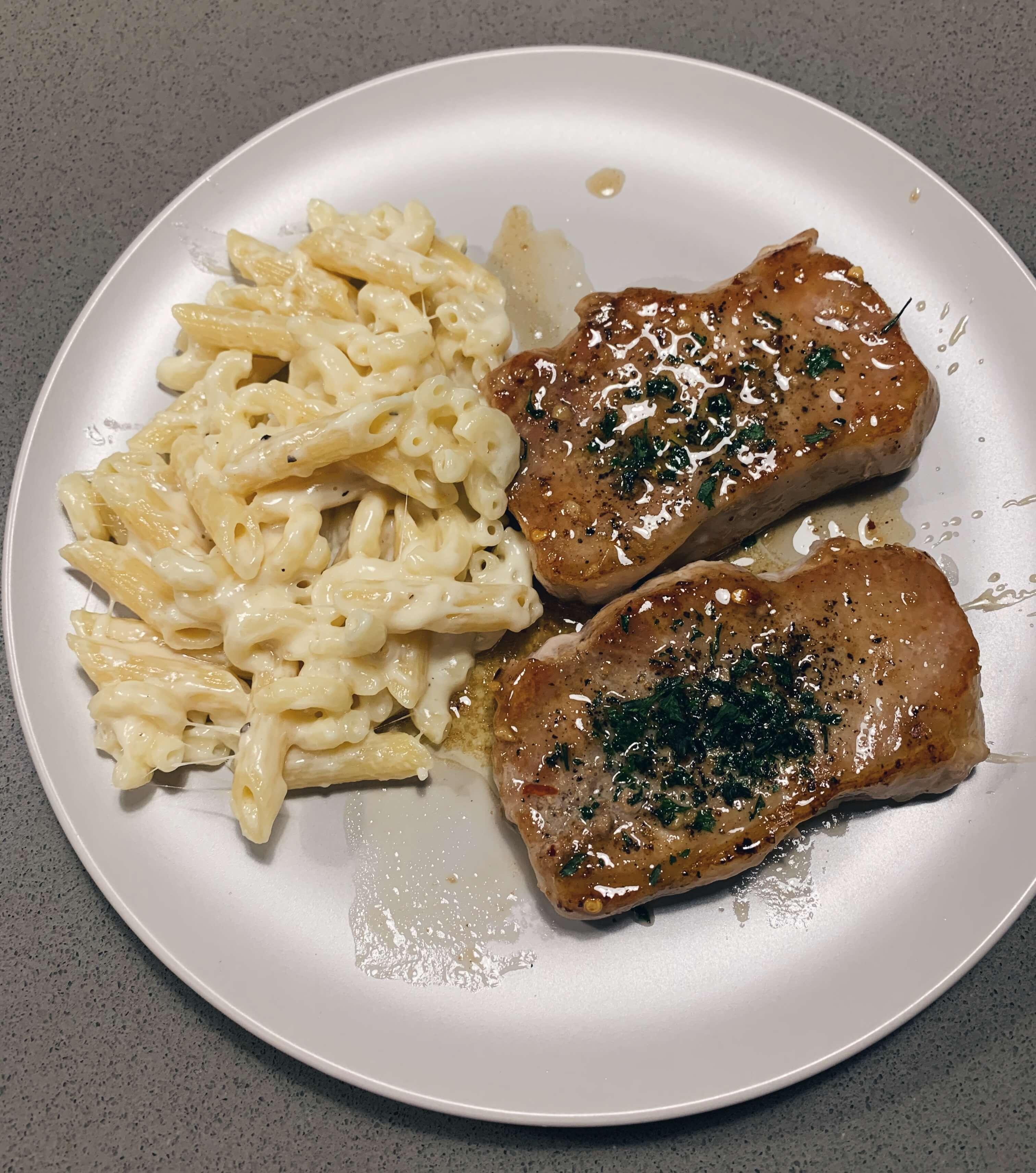 Brown Sugar & Garlic Pork chops with Homemade Mac & Cheese