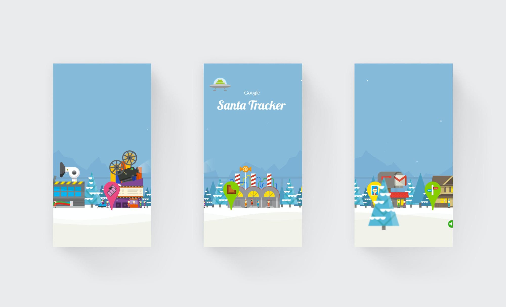 3 images of the Google Santa Tracker landscape