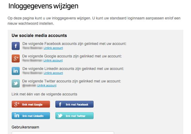 Zie in één oogopslag welke sociale media accounts aan uw Mijn Belfabriek account gelinkt zijn.