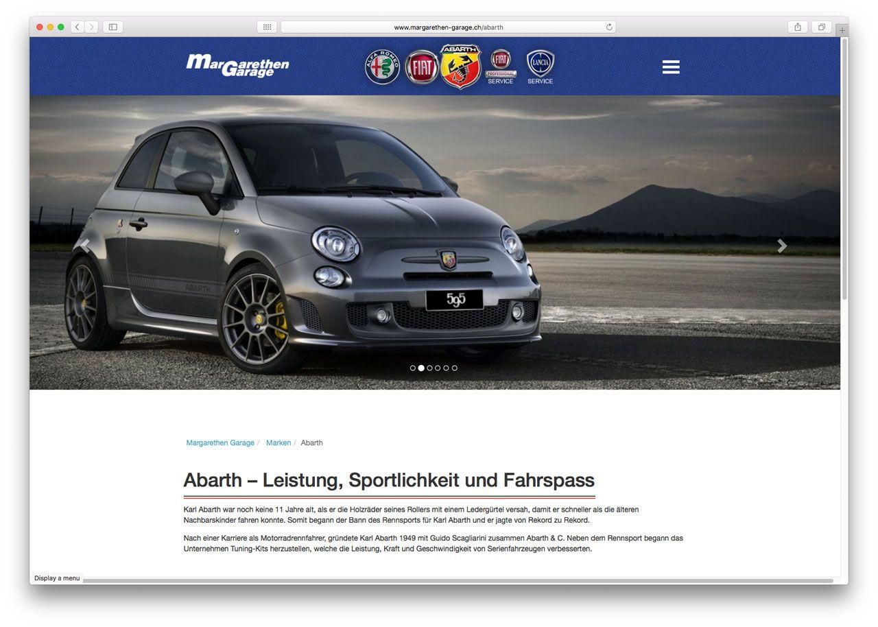 Margarethen Garage Corporate CMS Screenshot