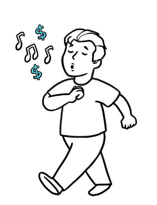 Cartoon character walking, whistling without worry