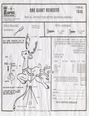 Empire Giant Reindeer #1649 Instruction Manual (1990).pdf preview