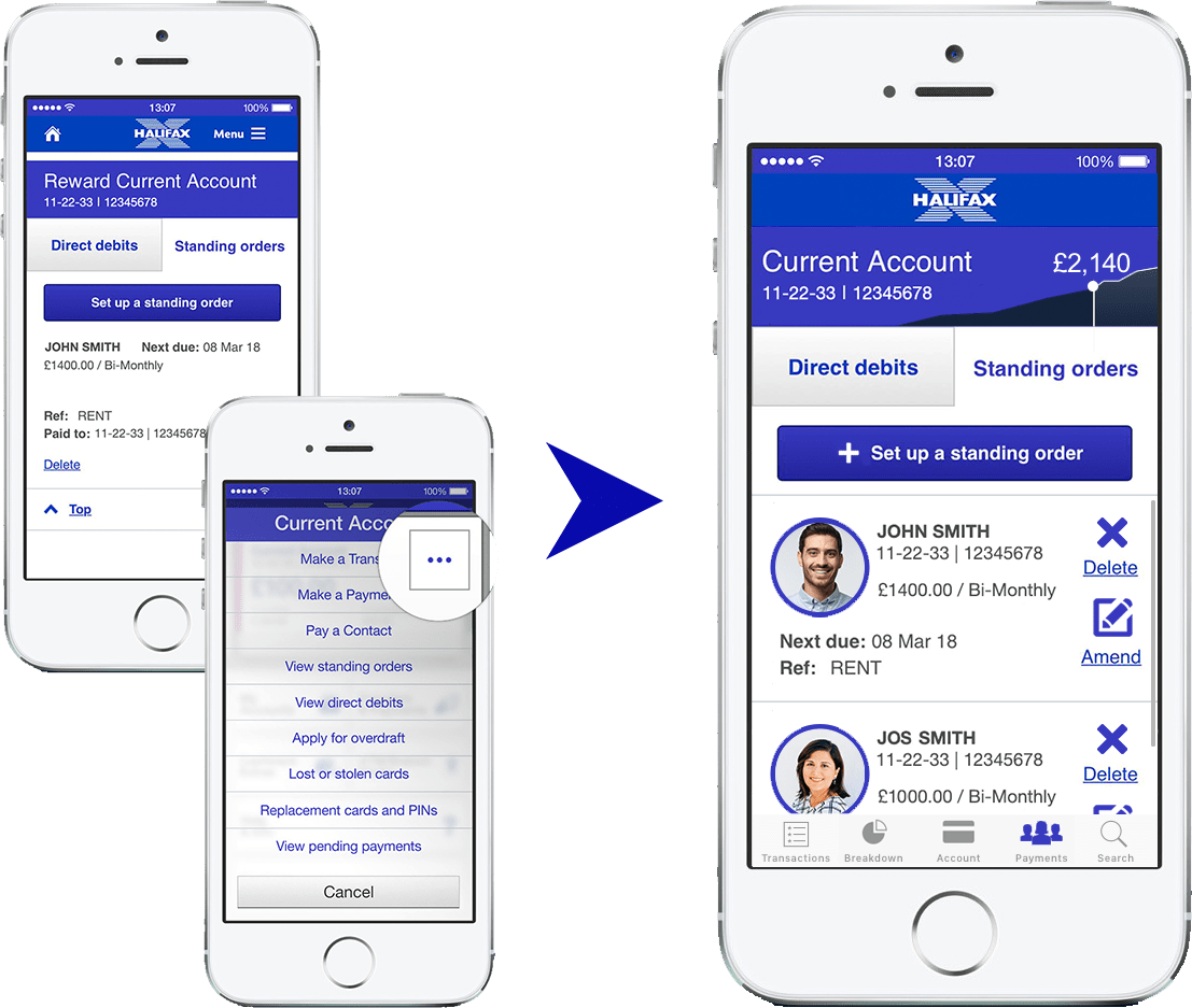 Figure 8: Left: Original Halifax app. Right: Redesigned user experience design for the payment section of the Halifax mobile app