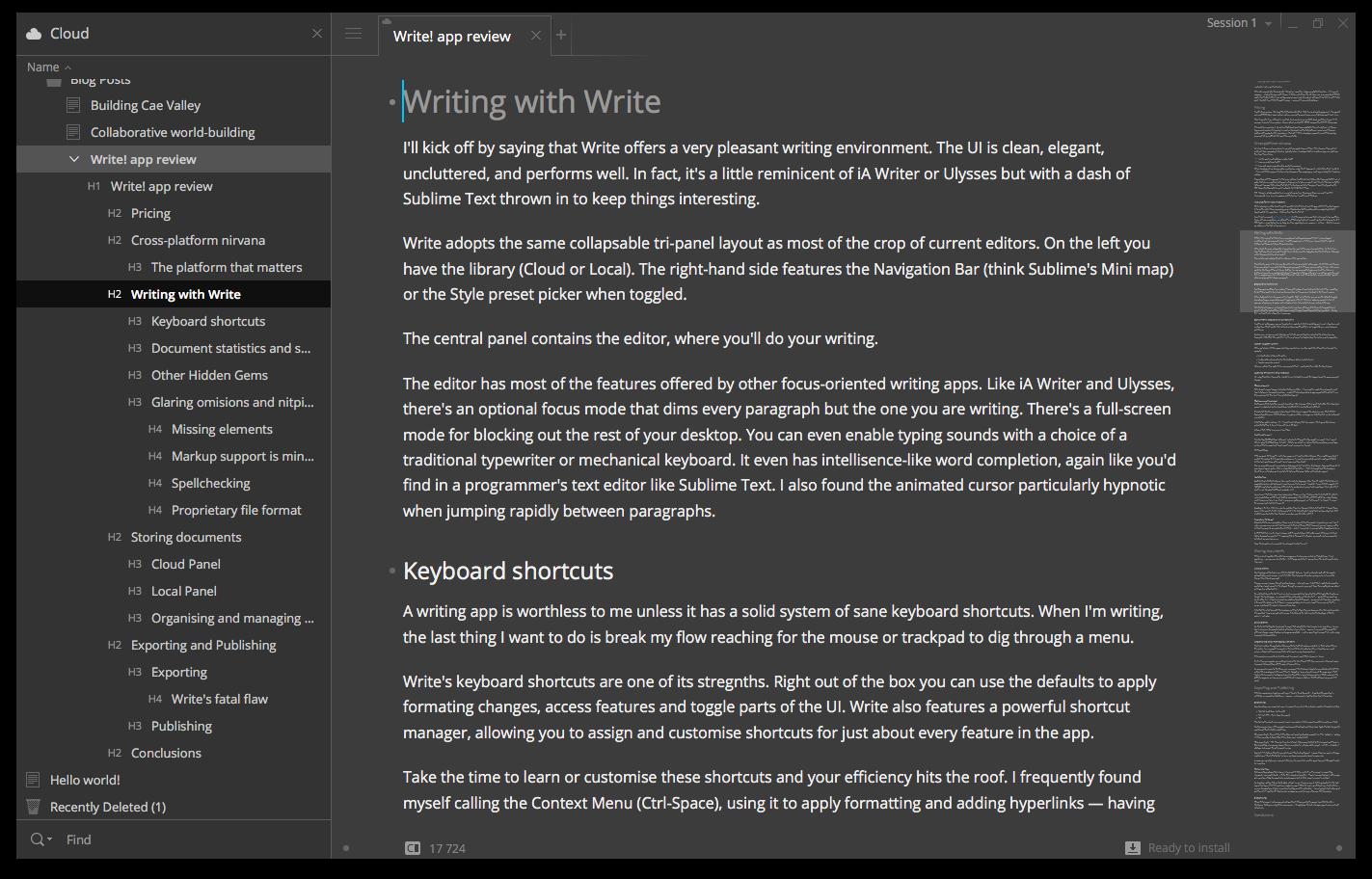 Write! User Interface