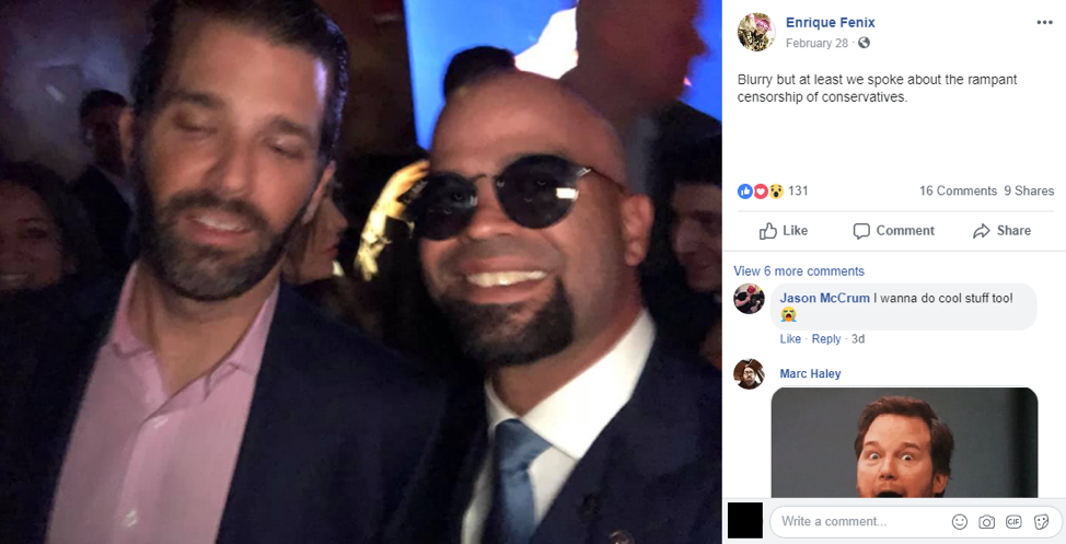 Proud Boy Chairman Enrique Tarrio met Donald Trump Jr. on February 28, 2019, where he commiserated about the censorship of conservatives despite having the ear of the President's own son.