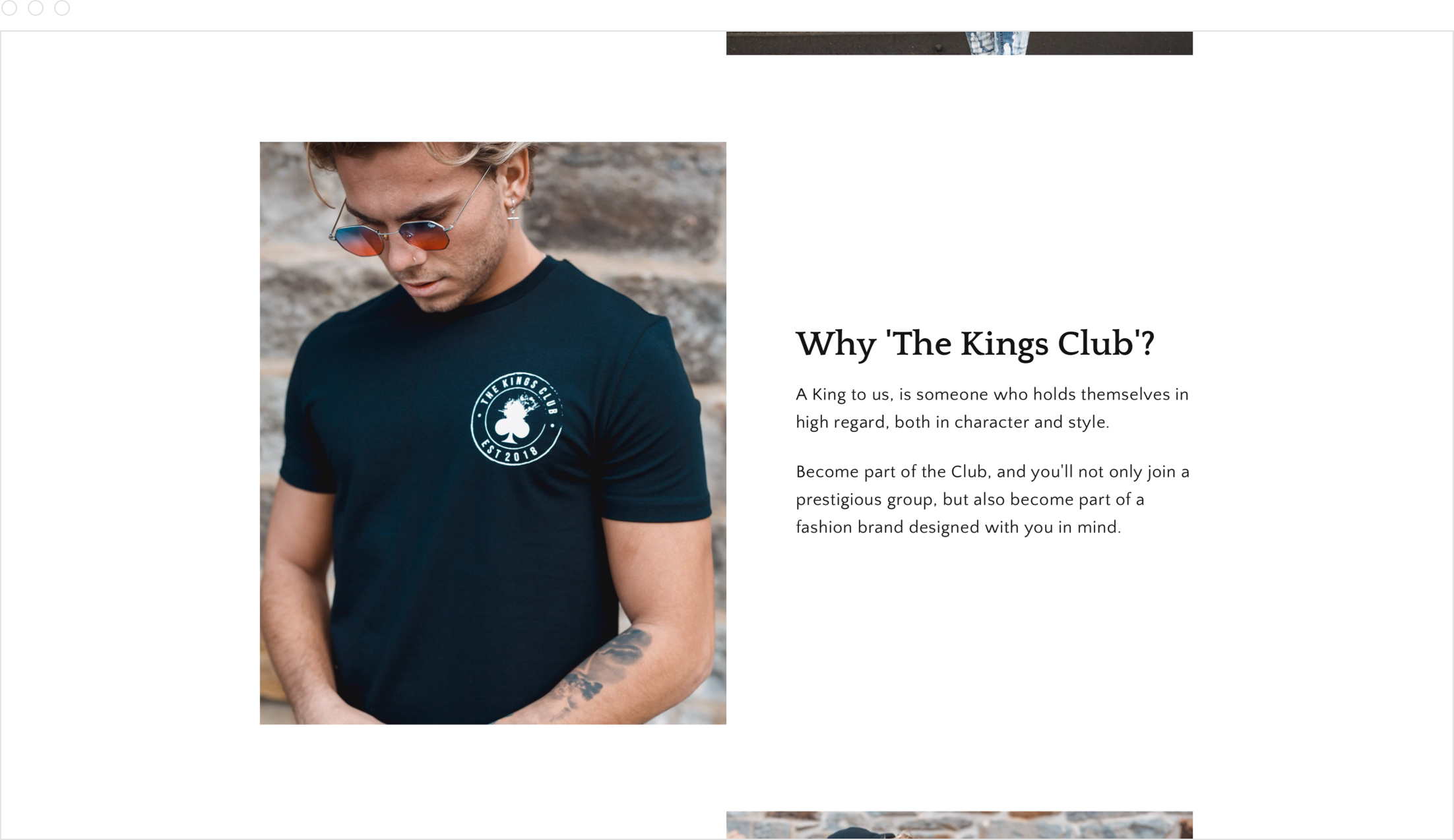 Website and online store design by Jack Watkins for men's clothing brand, The Kings Club