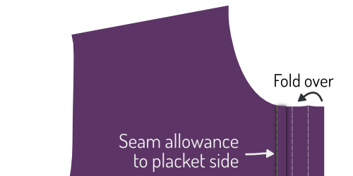 Fold the button placket