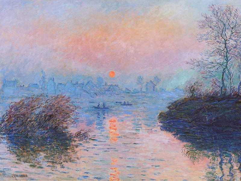Claude Monet's Sunset on the Seine at Lavacourt