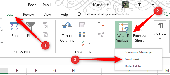 "An annotated Excel worksheet showing the following steps: Click ""data"", select ""What-if analysis"" then select ""Goal Seek"" from the drop-down menu"