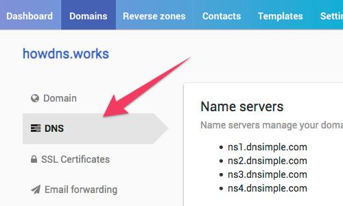 Domain DNS tab link