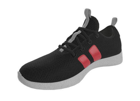 Rendering of an athletic shoe with material variants.