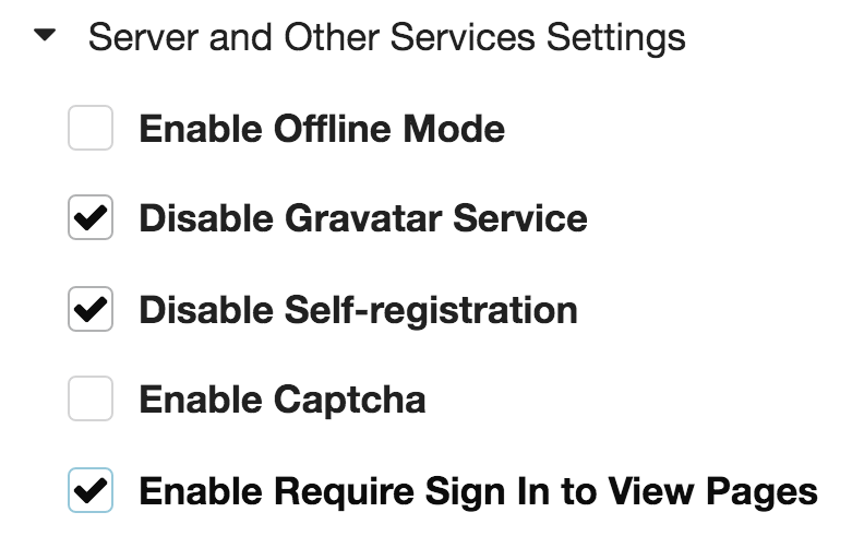 Gogs service settings
