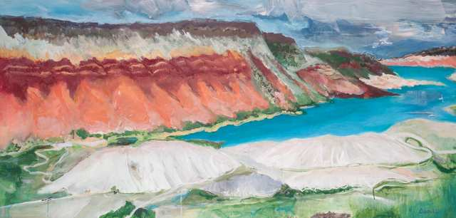 Sacred Landscapes Flaming Gorge, acrylic on paper