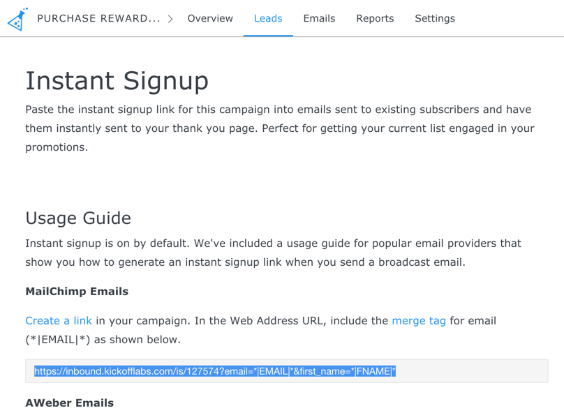 Copy instant signup