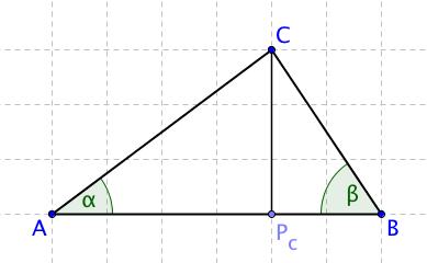 Trojúhelník ABC s výškou ke straně c