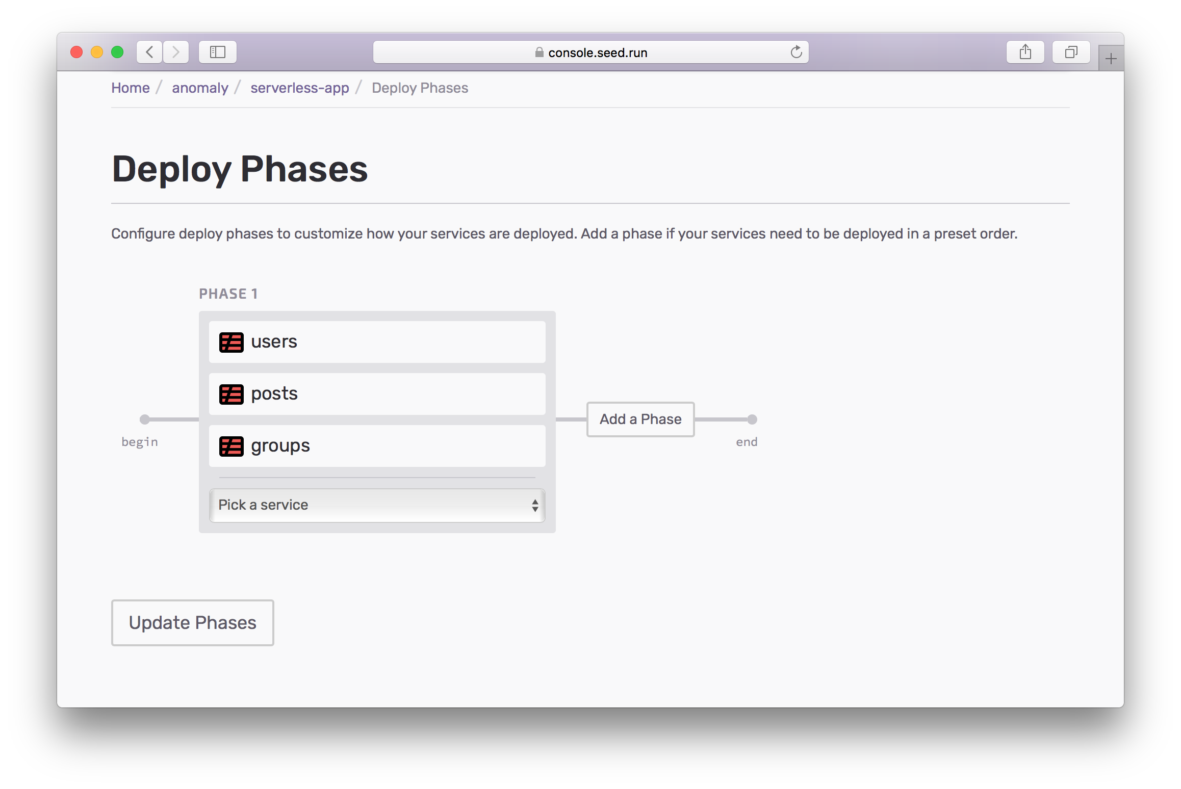 configure deploy phases