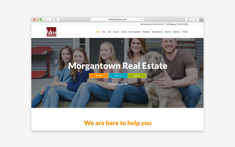 KLM properties website - desktop view