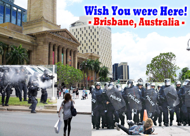 I've created some G20 Postcards with images dropped in from Toronto's G20 on pictures of beautiful Brisbane.