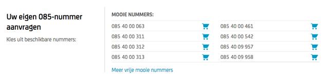 In onze 085-nummershop ziet u precies welke 085-nummers u vandaag al kunt aanvragen.