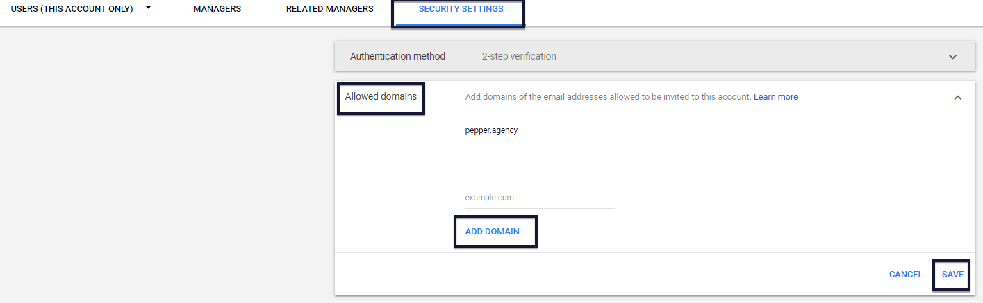 Google Ads allowed domains