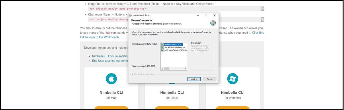 Nimbella CLI installation process