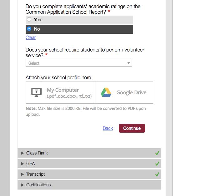 Where to Upload School Profile