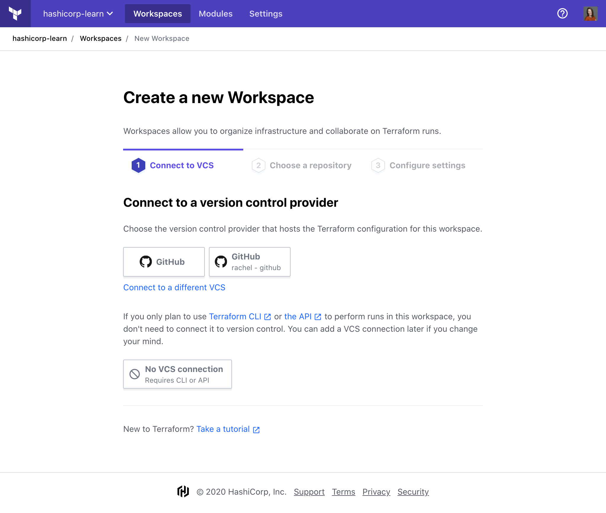 Create a new workspace in Terraform Cloud with no VCS provider