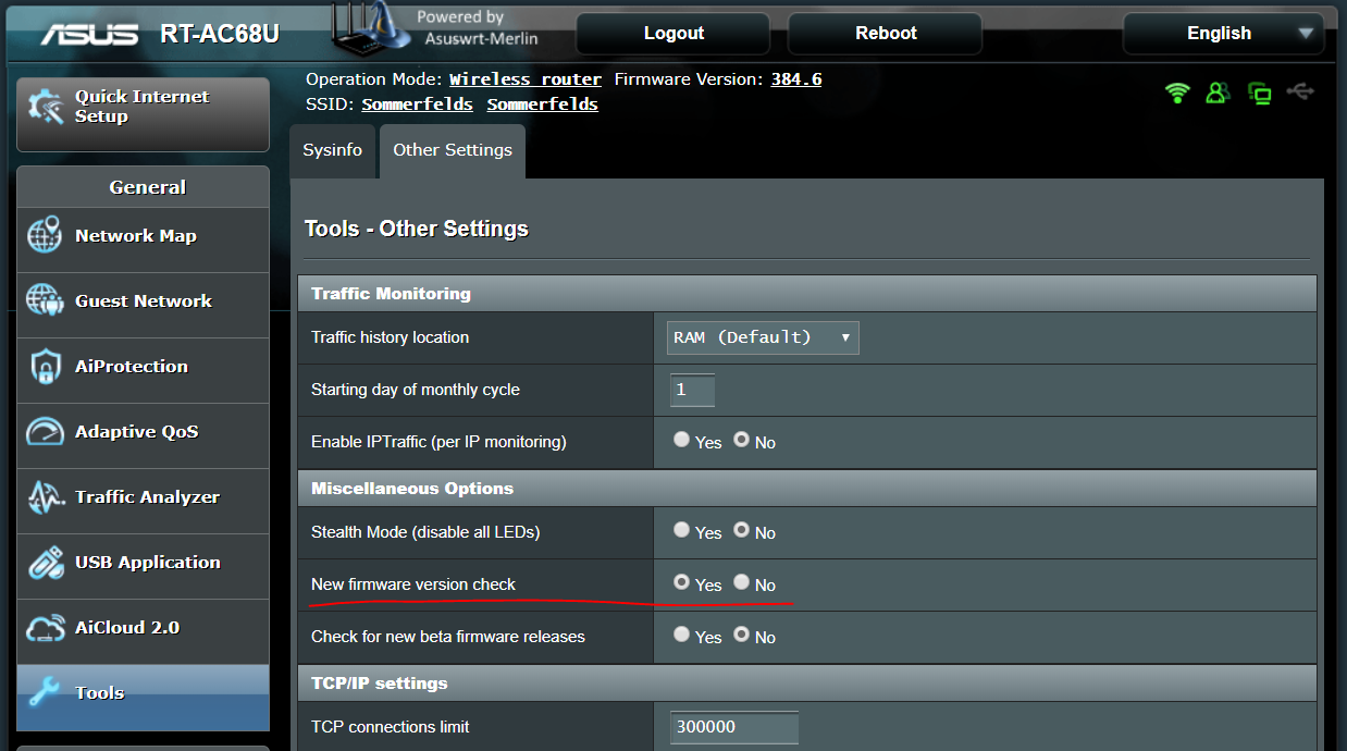 Asus router web interface for enabling firmware version check
