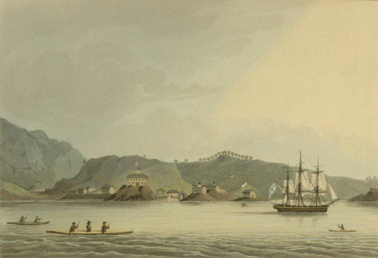Шлюп «Нева» в гавани святого Павла на острове Кадьяк. Гравюра по рисунку Ю. Ф. Лисянского / wikipedia.org