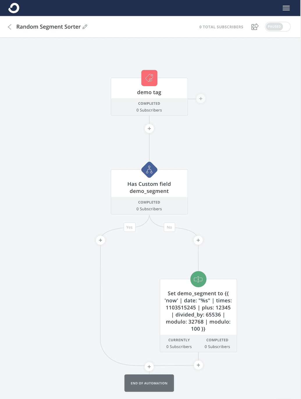 random number segement automation in convertkit