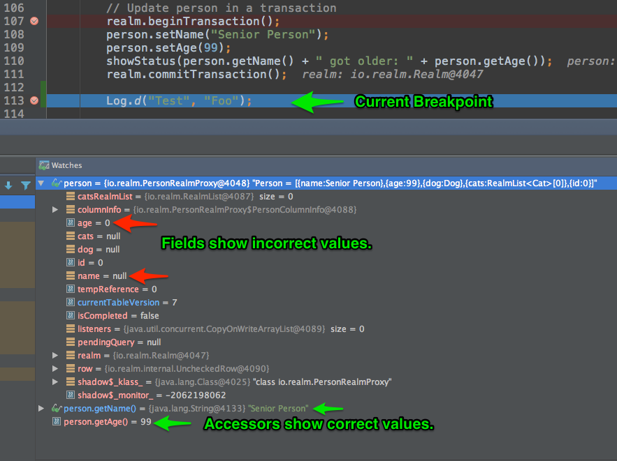 Android Studio, IntelliJ Debug RealmObject