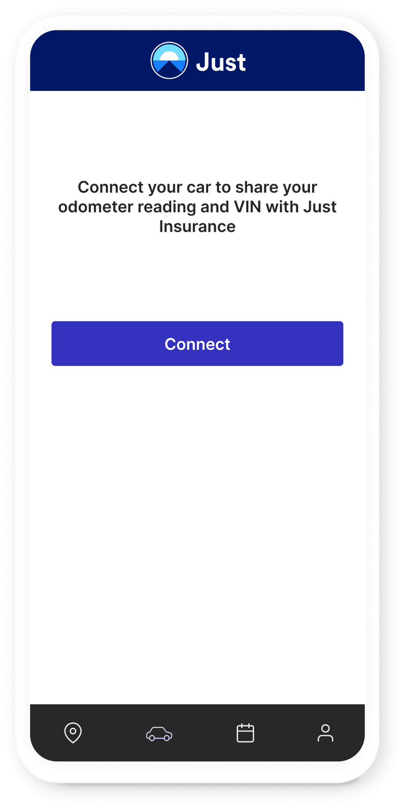 Just Insurance's mobile app prompting the user to connect their car, allowing approved guests to unlock it from the app