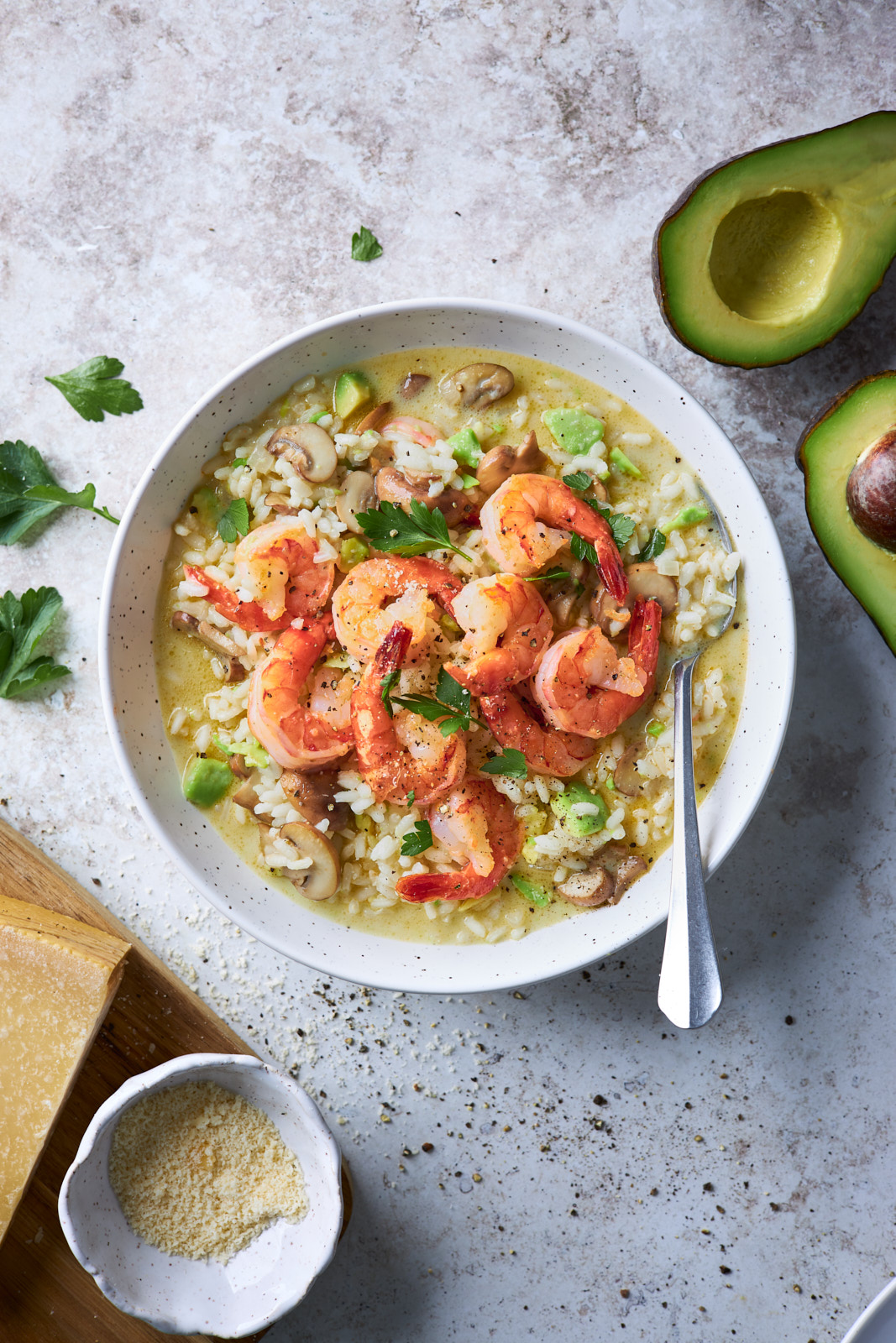 Creamy Mushroom Shrimp And Avocado Risotto