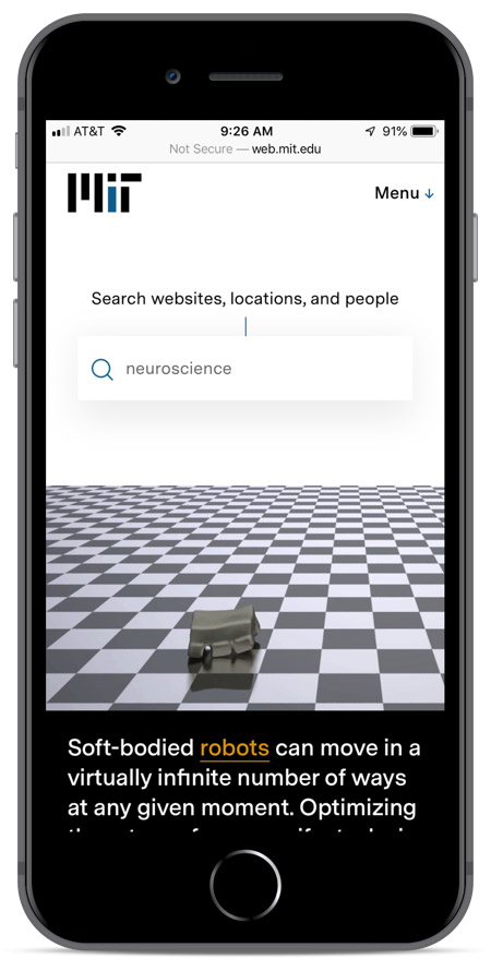 MIT's homepage as viewed on an iPhone 8