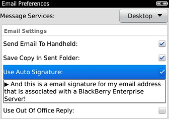 Email Signatures for Blackberry - Server Integrated