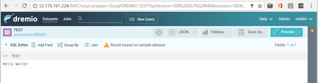 Create virtual dataset from Oracle on Azure