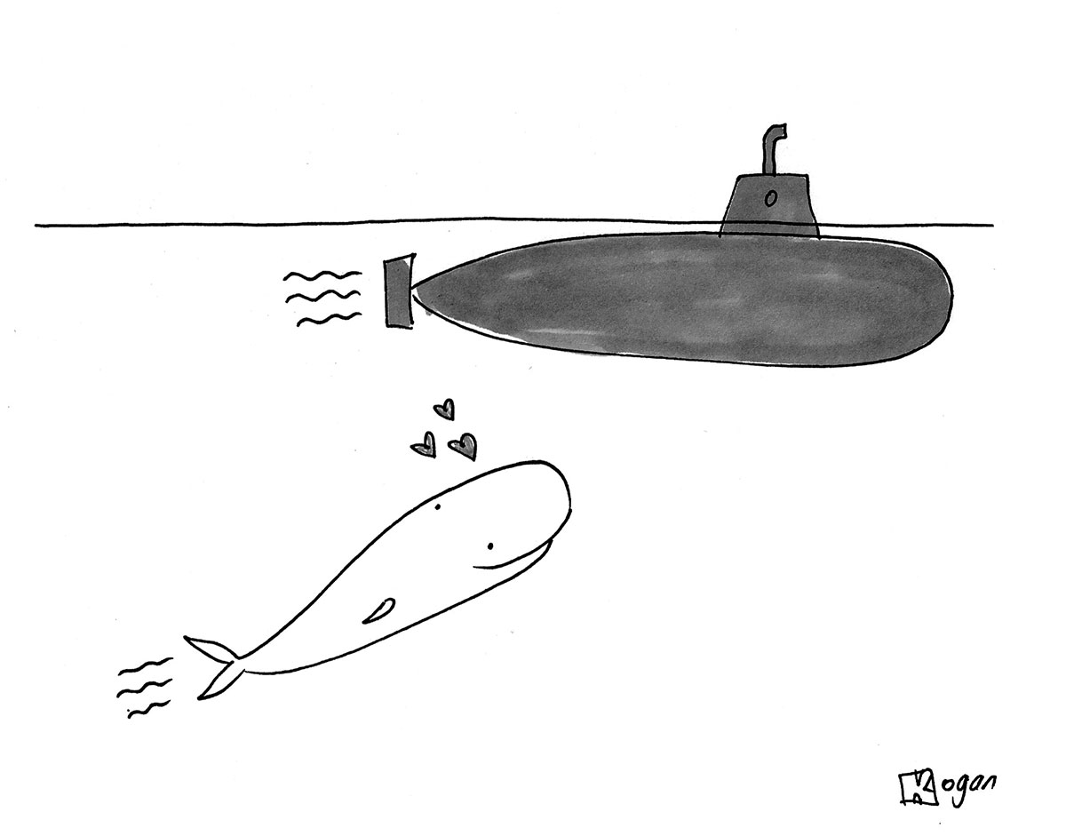 (A whale falls in love with a submarine.)