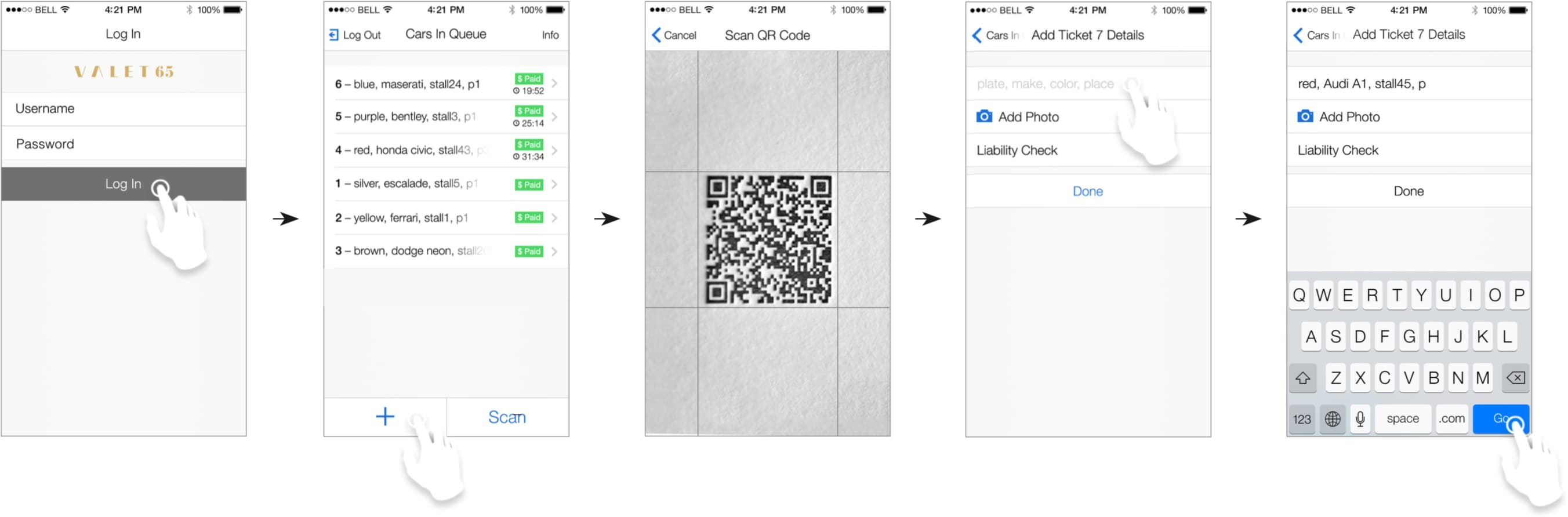 Wireframe of company ticket scanner