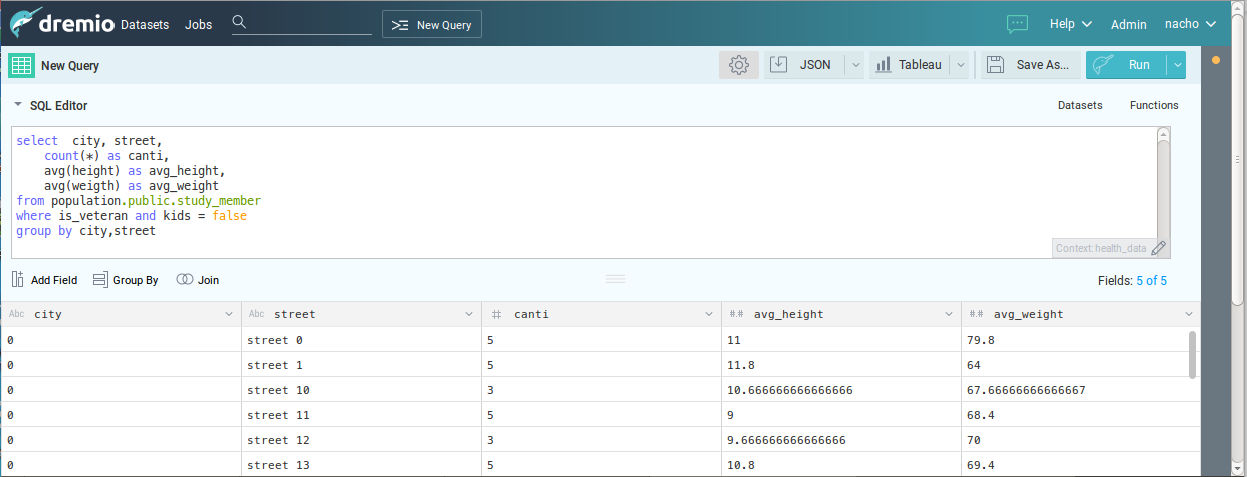 Running a SQL query in Dremio and viewing the results