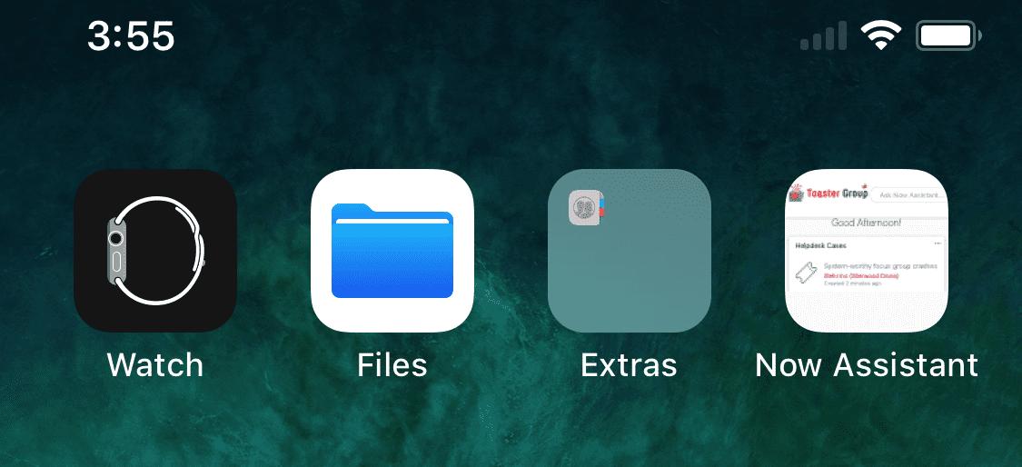 Home screen has the shortcut