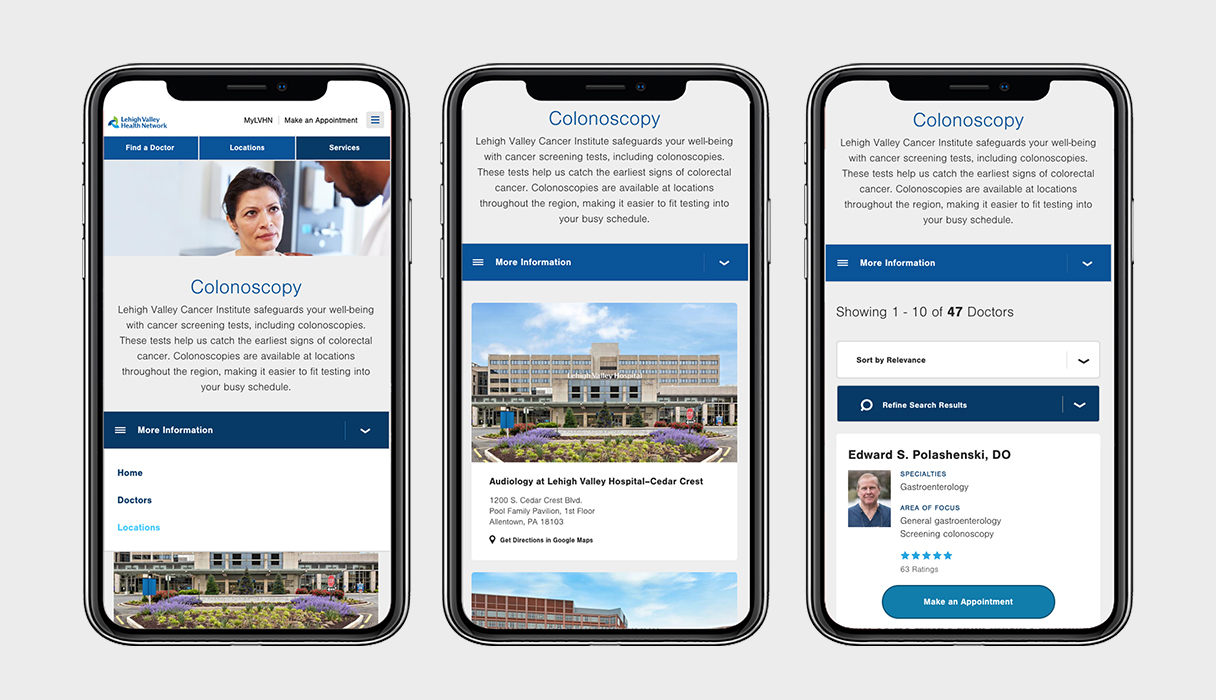 LVHN services pages viewed on three phones.