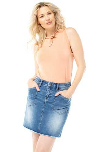 Liverpool Patch Pocket Jean Skirt