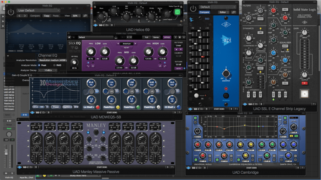 An assortment of EQ plugins