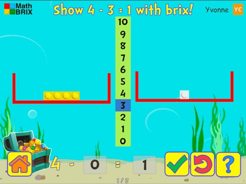 Basic subtraction within 5 using brix (scales) Math Game