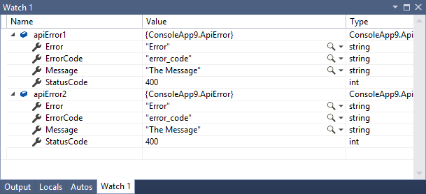 Values of variables in Watch window