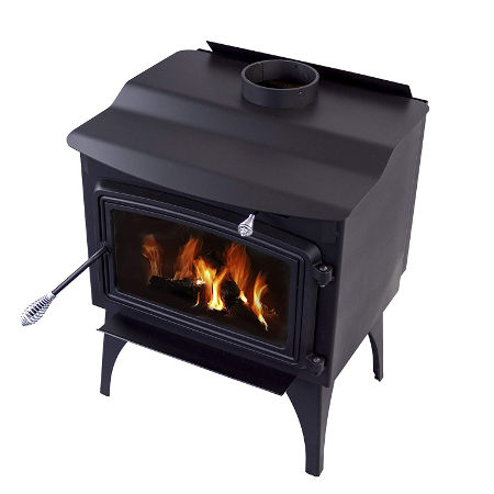 Amazon marketing image of the Pleasant Hearth 1,800 square foot wood burning stove.