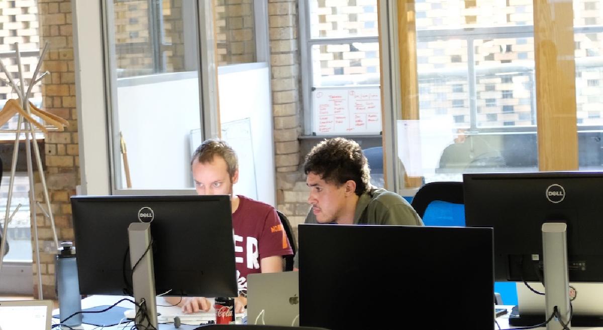 Luke and Mattias working