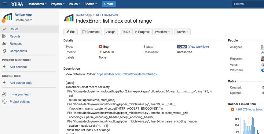 rollbar issue tracker