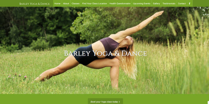 Barley Yoga & Dance website frontpage