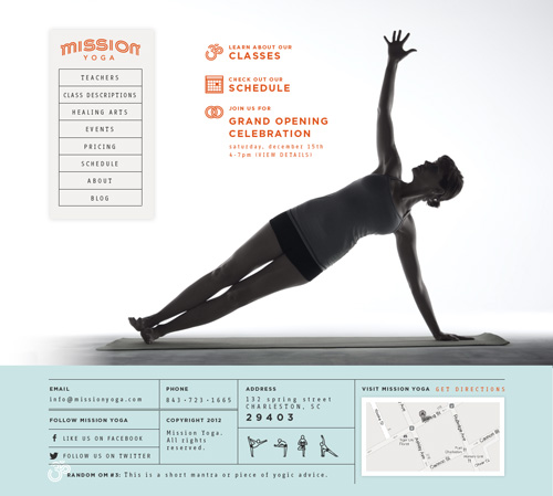 Screenshot of the Mission Yoga home page
